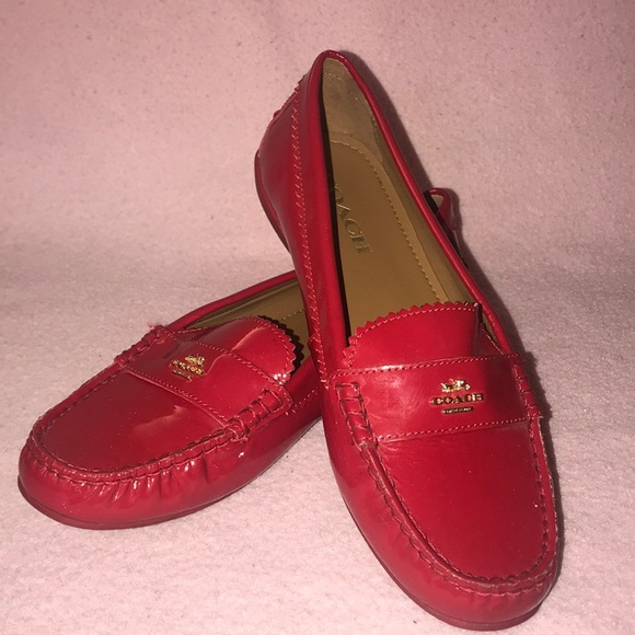 Red patent leather coach loafers